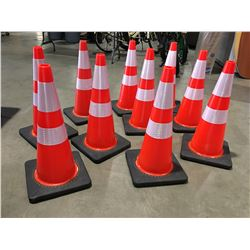 """10 X SAFETY HIGHWAY CONES 28"""" HIGH - D"""