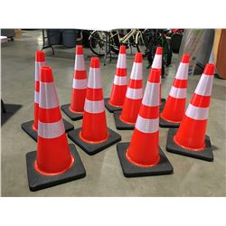 """10 X SAFETY HIGHWAY CONES 28"""" HIGH - F"""