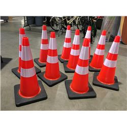 """10 X SAFETY HIGHWAY CONES 28"""" HIGH - H"""
