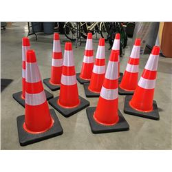 """10 X SAFETY HIGHWAY CONES 28"""" HIGH - I"""