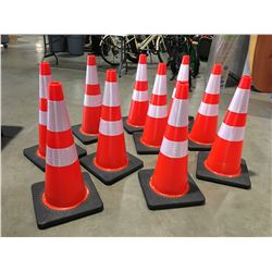 """10 X SAFETY HIGHWAY CONES 28"""" HIGH - L"""