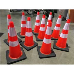 """10 X SAFETY HIGHWAY CONES 28"""" HIGH - O"""