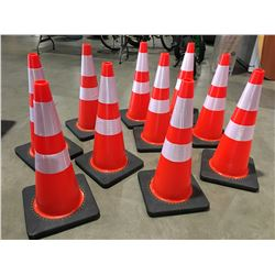 """10 X SAFETY HIGHWAY CONES 28"""" HIGH - R"""