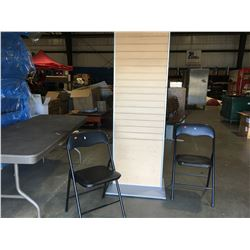 WOODEN SLOT DISPLAY BOARD & 2 FOLDING CHAIRS