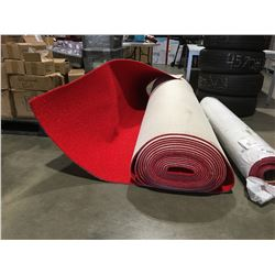 RED INDOOR/OUTDOOR CARPET ON BACKING (8' WIDE APPROX 490 SQ FT)