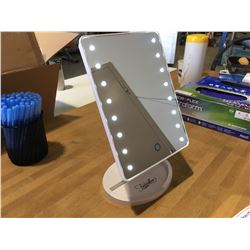 FONTAINEBLEAU LED LIGHTED DESKTOP VANITY MIRROR. ULTRA BRIGHT 16 PC LED'S, ADJUSTS 180 DEGREES,