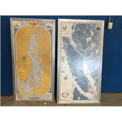 """2 X FRAMED VANCOUVER ISLAND MAP PICTURES (APPROX 31"""" X 61"""" & 34"""" X 62"""")"""