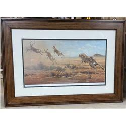 Framed Print: CHEETAH HUNTING IMPALA by Clive Kay