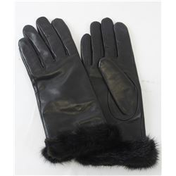 Black Leather Gloves with Ranch Mink Trim (size L - 8)