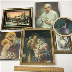 LOT OF FRAMED PIECES RELIGOUS AND MORE