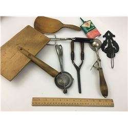 MISC LOT WOOL CARDERS SINGER CAN BUTTER PADDLE AND MORE