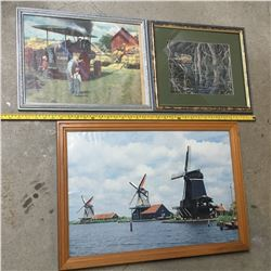 LOT OF FRAMED PIECES CASE, BEAVER, WINDMILL