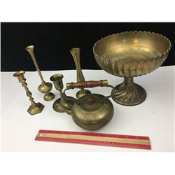 LOT OF BRASS PIECES TEAPOT, CANDLE HOLDERS, BOWL