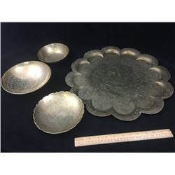 LOT OF BRASS BOWLS AND PLATTER