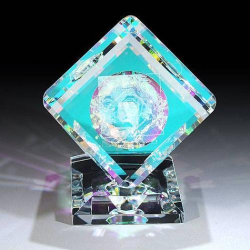 Optical Cube Albert Einstein Laser Paperweight