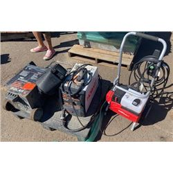 Contents of Pallet: 140 Welder, Battery Charger, Hobart Handler (Untested, Functionality Unknown)