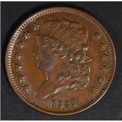 1832 HALF CENT AU/BU