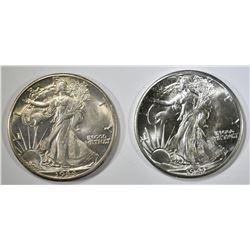 1941 & 44-D WALKING LIBERTY HALF DOLLARS CH BU