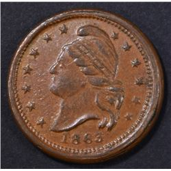 1863 PEACE FOREVER CIVIL WAR TOKEN F-26/418 XF/AU