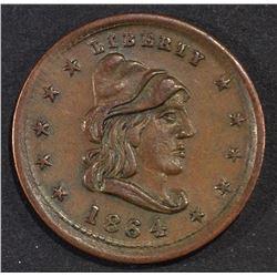 1864 LIBERTY CIVIL WAR TOKEN AU