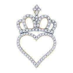 0.32 CTW Diamond Crown Heart Pendant 10kt Yellow Gold
