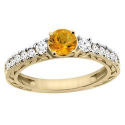 1.10 CTW Citrine & Diamond Ring 14K Yellow Gold