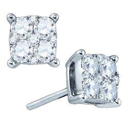 1.50 CTW Diamond Square Cluster Earrings 18kt White Gold