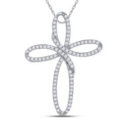 0.25 CTW Diamond Cross Pendant 10kt White Gold