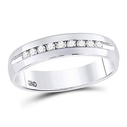 0.25 CTW Machine Set Diamond Wedding Channel Ring 14kt White Gold