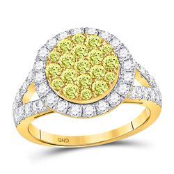 1.63 CTW Yellow Diamond Circle Frame Cluster Ring 14kt Yellow Gold