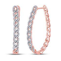 0.50 CTW Diamond Oval Link Oblong Hoop Earrings 10kt Rose Gold
