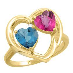 2.61 CTW Diamond, London Blue Topaz & Pink Topaz Ring 14K Yellow Gold