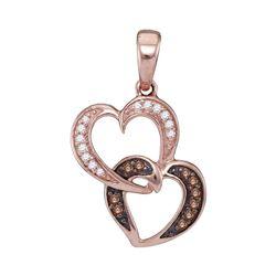 0.10 CTW Brown Diamond Double Heart Pendant 10kt Rose Gold