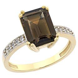3.70 CTW Quartz & Diamond Ring 10K Yellow Gold