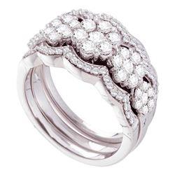 1.49 CTW Diamond 3-Piece Bridal Wedding Engagement Ring 14kt White Gold