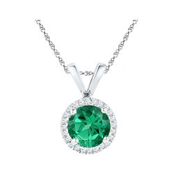 0.85 CTW Lab-Created Emerald Solitaire & Diamond Halo Pendant 10kt White Gold