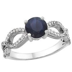 1.30 CTW Blue Sapphire & Diamond Ring 10K White Gold