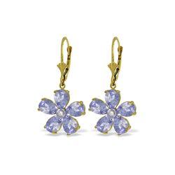 Genuine 4.43 ctw Tanzanite & Diamond Earrings 14KT Yellow Gold