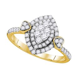 0.50 CTW Diamond Oval Halo Cluster Ring 14kt Yellow Gold