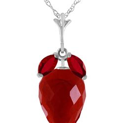 Genuine 13.5 ctw Ruby Necklace 14KT White Gold