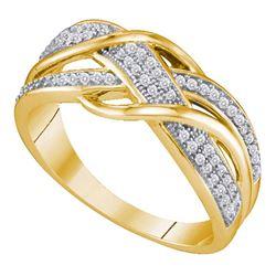 0.20 CTW Diamond Crossover Ring 10kt Yellow Gold