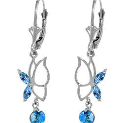 Genuine 0.80 ctw Blue Topaz Earrings 14KT White Gold