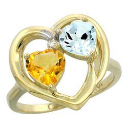 2.61 CTW Diamond, Citrine & Aquamarine Ring 10K Yellow Gold