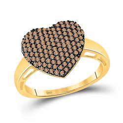 0.60 CTW Brown Diamond Heart Ring 10kt Yellow Gold