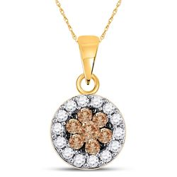0.50 CTW Brown Diamond Flower Cluster Circle Pendant 14kt Yellow Gold