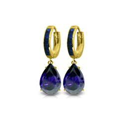 Genuine 10.60 ctw Sapphire Earrings 14KT Yellow Gold