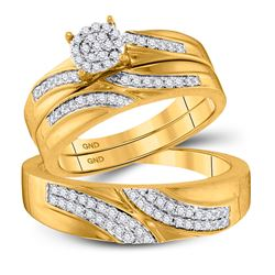 0.45 CTW Diamond Cluster Matching Bridal Wedding Ring 10kt Yellow Gold
