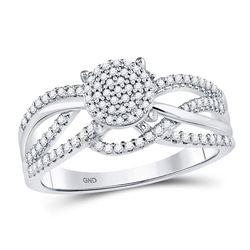 0.33 CTW Diamond Woven Strand Cluster Ring 10kt White Gold