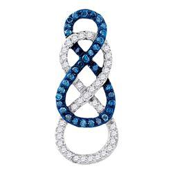 0.27 CTW Blue Color Enhanced Diamond Linked Infinity Pendant 10kt Yellow Gold