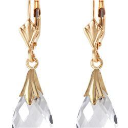 Genuine 6 ctw White Topaz Earrings 14KT Yellow Gold